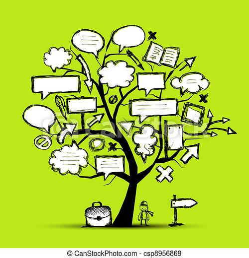 Vecteur - croquis, arbre, flèches, cadres, ton, conception - banque d