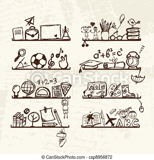 Objects for school on shelves, sketch drawing for your design  - csp8956872