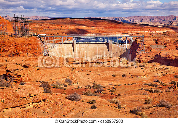 Glen Canyon Dam Lake Powell Electric Power Towers Lines Arizona - csp8957208