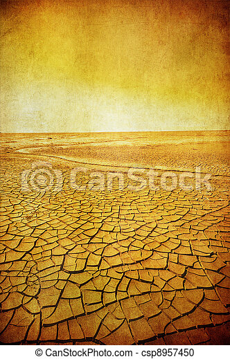 grunge image of desert landscape - csp8957450