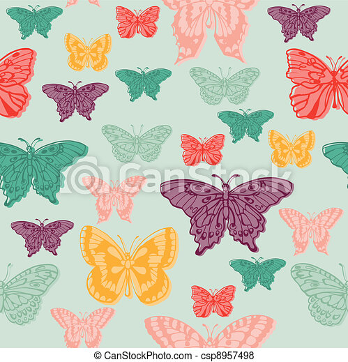 Colorful background with butterflies - for scrapbooking or design in vector - csp8957498