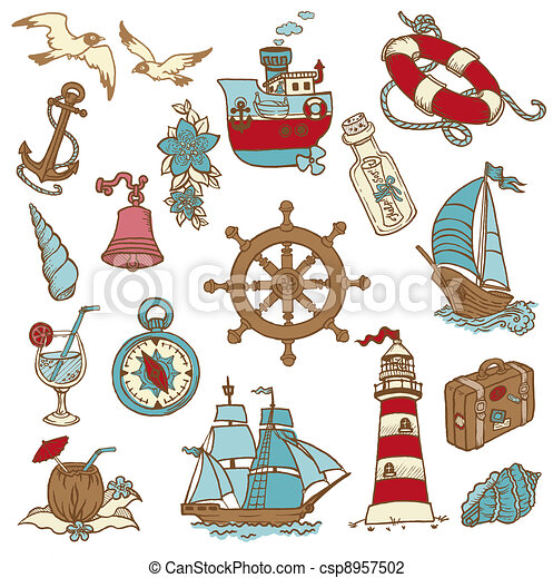 Doodle Sea elements - for your design, scrapbook in vector - csp8957502