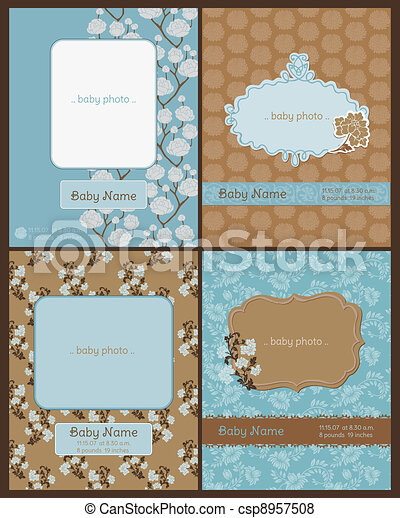 Set of Baby Arrival Cards - with place for your text and photo - in vector - csp8957508