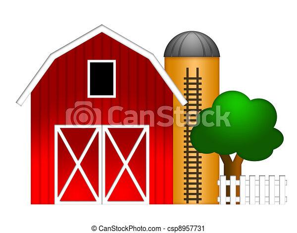 Red Barn with Grain Silo Illustration - csp8957731