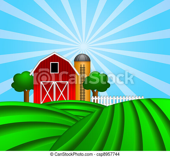 Red Barn with Grain Silo on Green Pasture Illustration - csp8957744