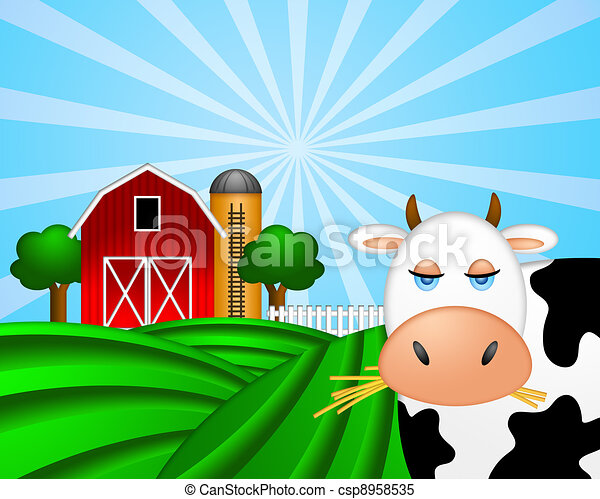 Cow on Green Pasture with Red Barn with Grain Silo  - csp8958535