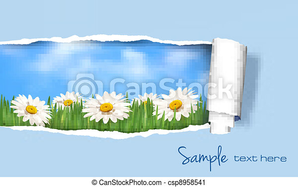 Nature background with ripped paper - csp8958541