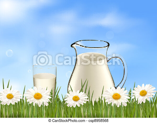 Glass of milk and jar - csp8958568
