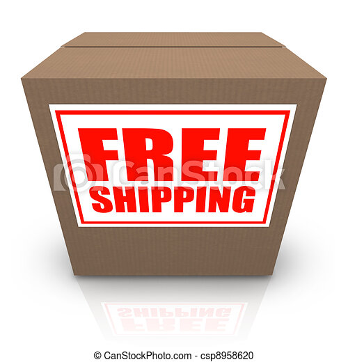 Free Shipping Brown Cardboard Box Order Shipment - csp8958620