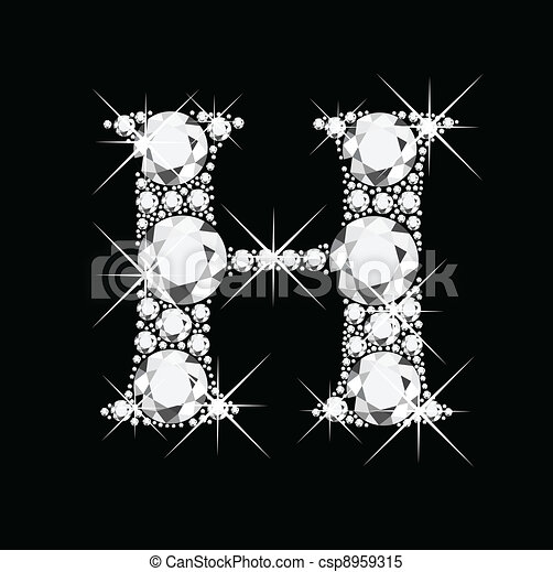 H letter with diamonds bling bling - csp8959315