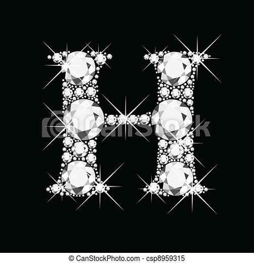 H letter with diamonds bling bling - csp8959315