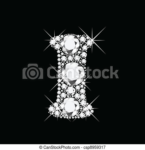 I letter with diamonds bling bling - csp8959317