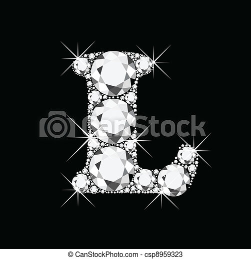 L letter with diamonds bling bling - csp8959323