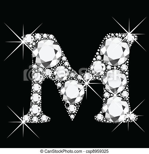 M letter with diamonds bling bling - csp8959325