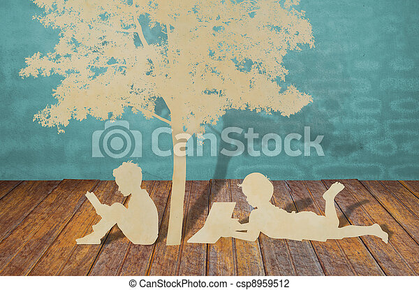 Paper cut of children read a book under tree - csp8959512
