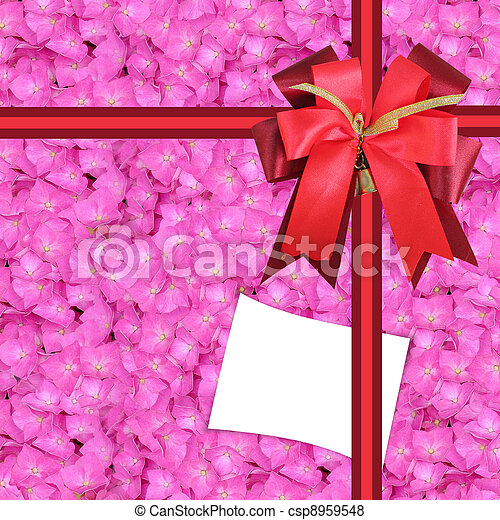 blanc gift-card with flowers, as a gift  - csp8959548