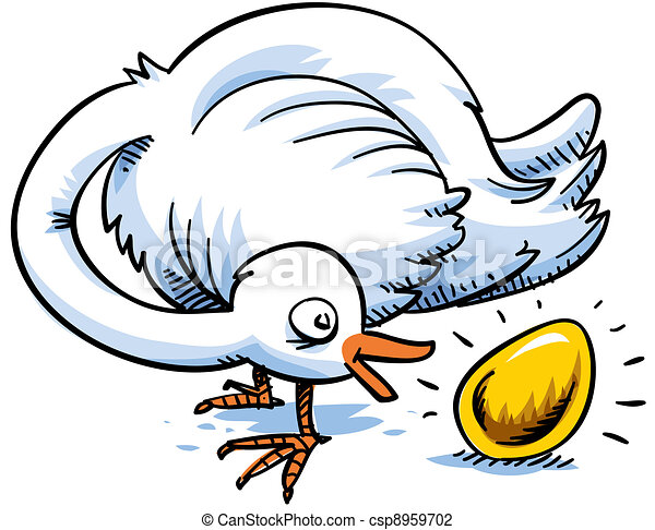 Clip Art of Gold Egg - A cartoon bird is surprised to find that it ...