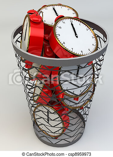 Wasting time concept: alarm clocks in the trash - csp8959973