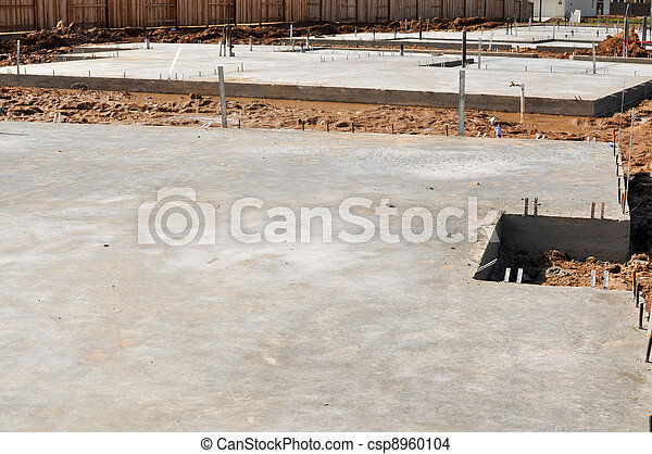New Property Home Foundation Construction with conrete slab - csp8960104
