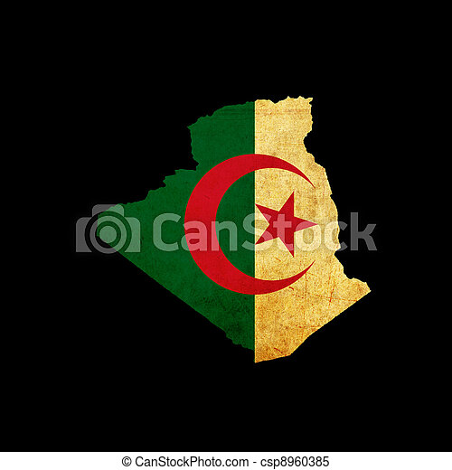 Map outline of Algeria with flag grunge paper effect - csp8960385