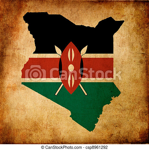 Map outline of Kenya with flag grunge paper effect - csp8961292