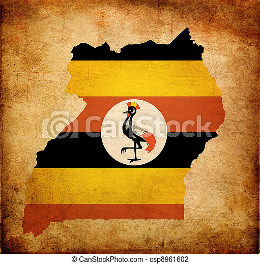 Map outline of Uganda with flag grunge paper effect - csp8961602