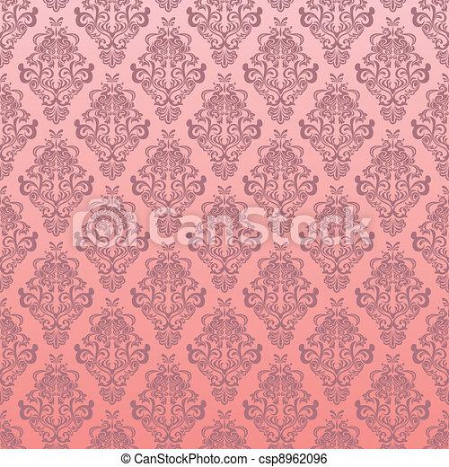 Seamless pink floral pattern - csp8962096