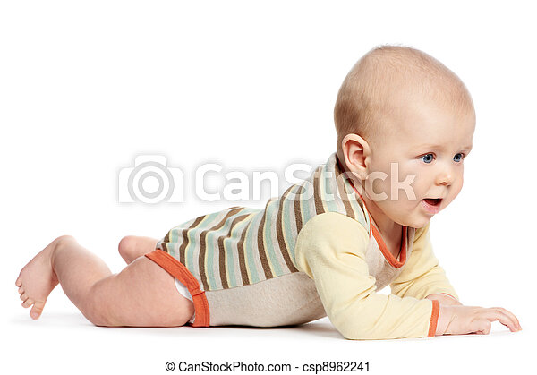 little laughing crawling baby on white - csp8962241