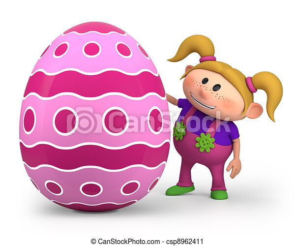 little girl with easter egg - csp8962411