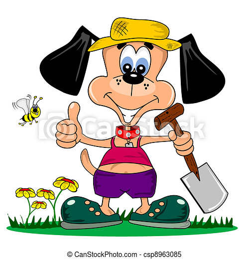 A cartoon dog gardening - csp8963085