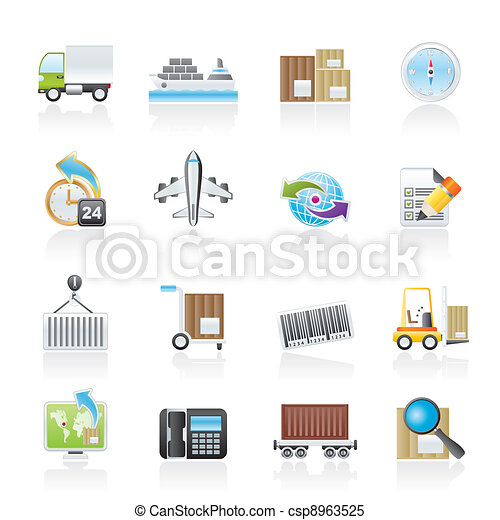 shipping and logistics icons - csp8963525