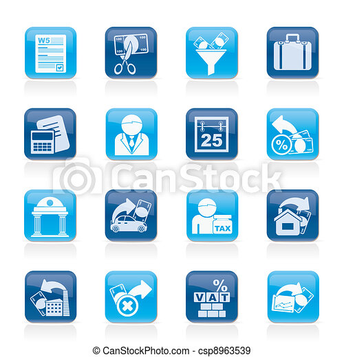 Taxes, business and finance icons - csp8963539