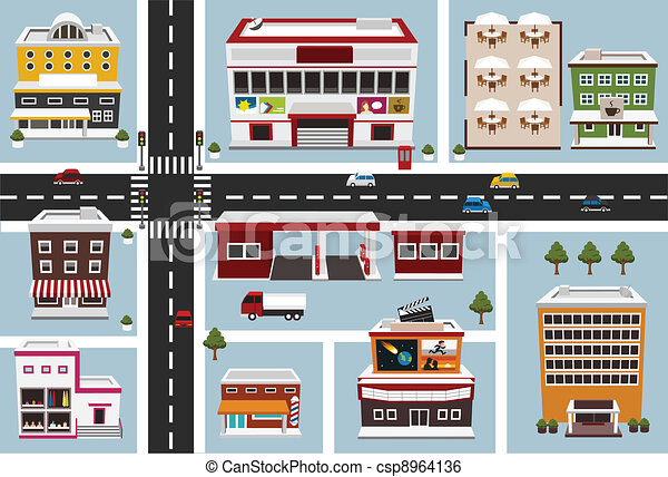 Vector map of commercial area stock illustration royalty free