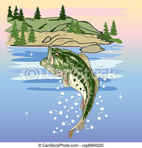 Jumping Bass at the Lake - csp8964220