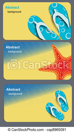 sandals and starfish at beach nature summer vector background - csp8965091