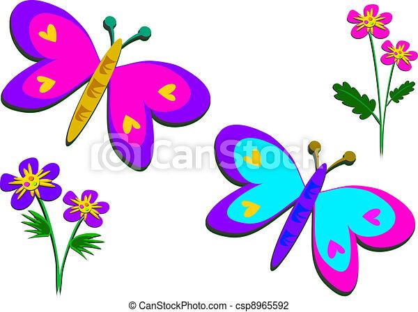 Mariposa y flores dibujo tamao grande  Imagui