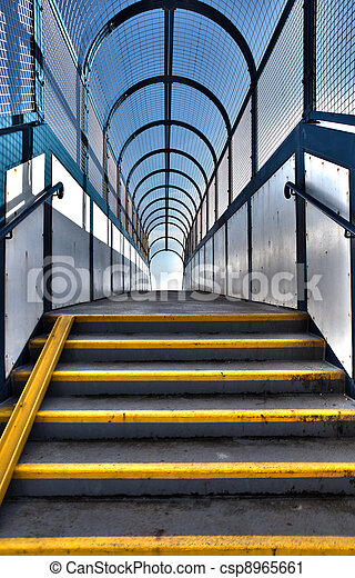 footbridge stairs pedestrian flyover - csp8965661