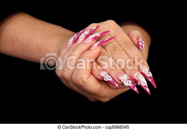 Human fingers with long fingernail  - csp8966045
