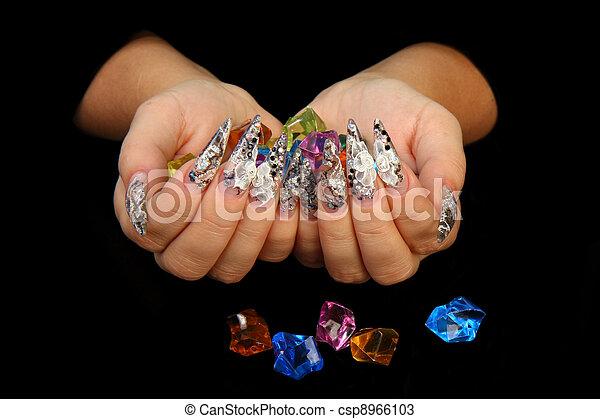 Human fingers with long fingernail  - csp8966103