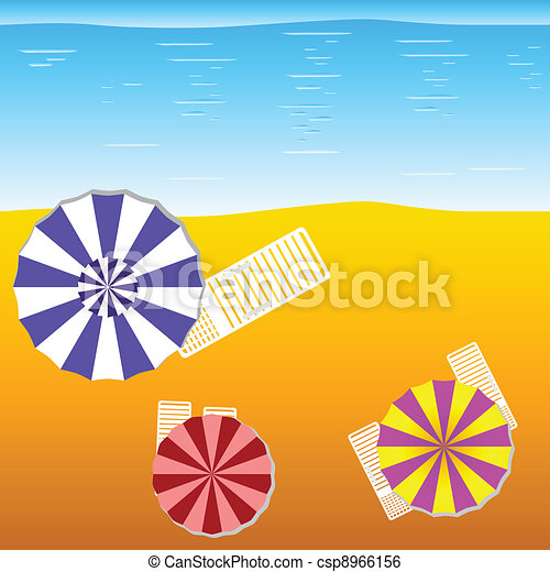 deck chairs and umbrellas on the beach - csp8966156