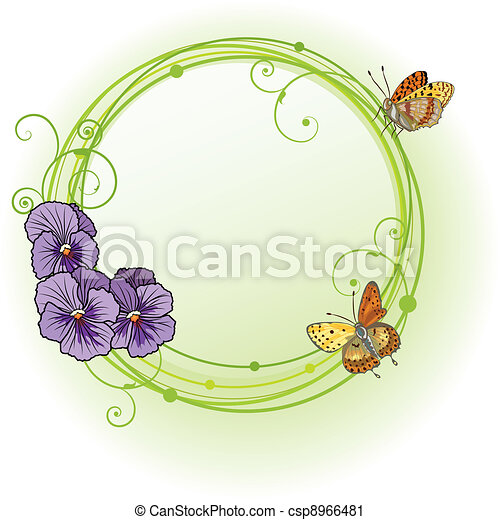 vector frame with violet pansies - csp8966481