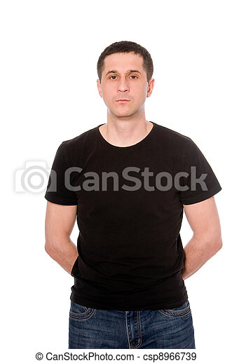 mid adult man in the black t-shirt isolated on white background - csp8966739