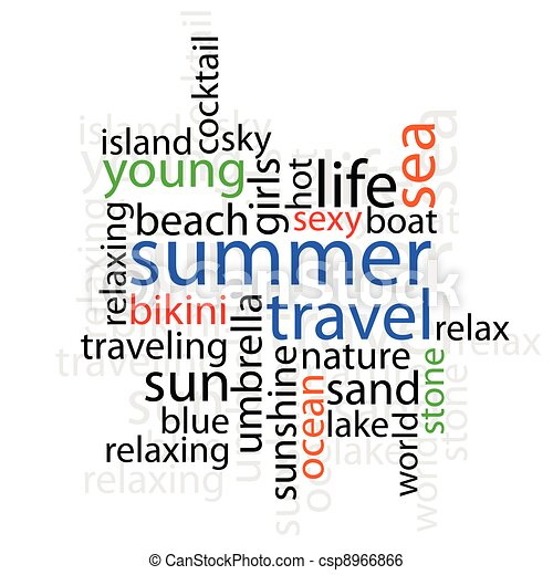 summer travel with word illustration - csp8966866