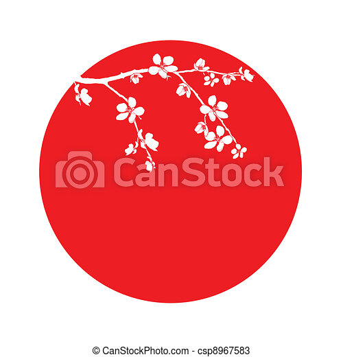 Branch of beautiful cherry blossom in circle - csp8967583