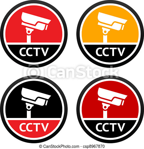 CCTV pictogram, set sign securit