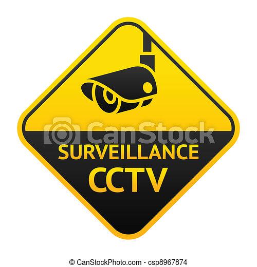 CCTV sign, video surveillance symbol - csp8967874