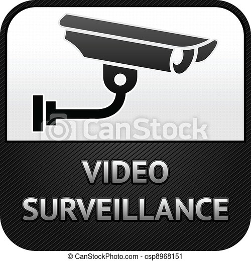CCTV symbol, video surveillance, sign security camera - csp8968151
