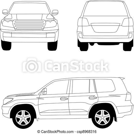 Sport utility vehicle car vector line illustration on white - csp8968316