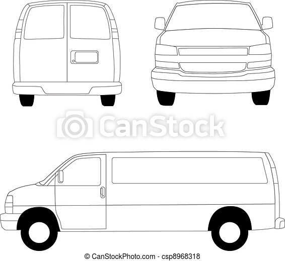 Delivery van line illustration - csp8968318