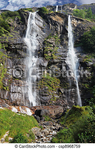 Picturesque waterfall in Northern Italy - csp8968759